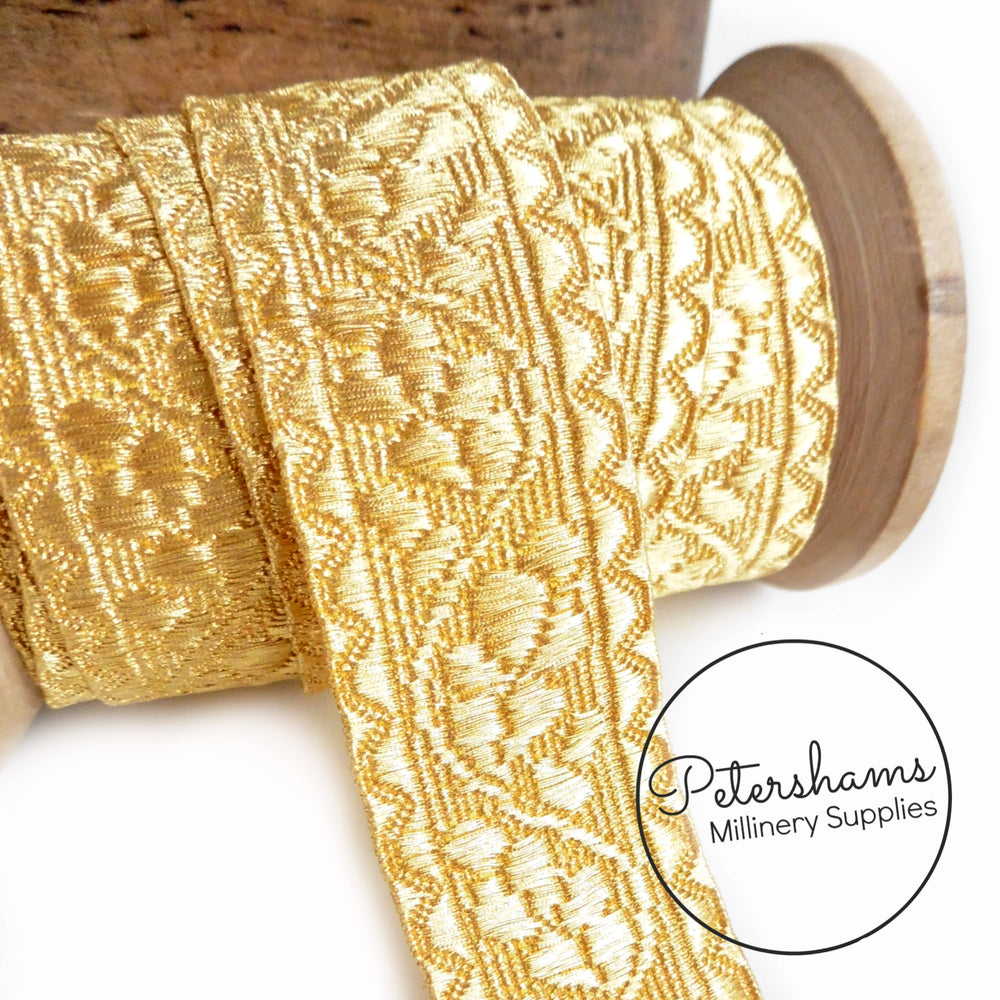 0.5% Real Gold Thread Lace Ribbon - 25mm Oak Leaf