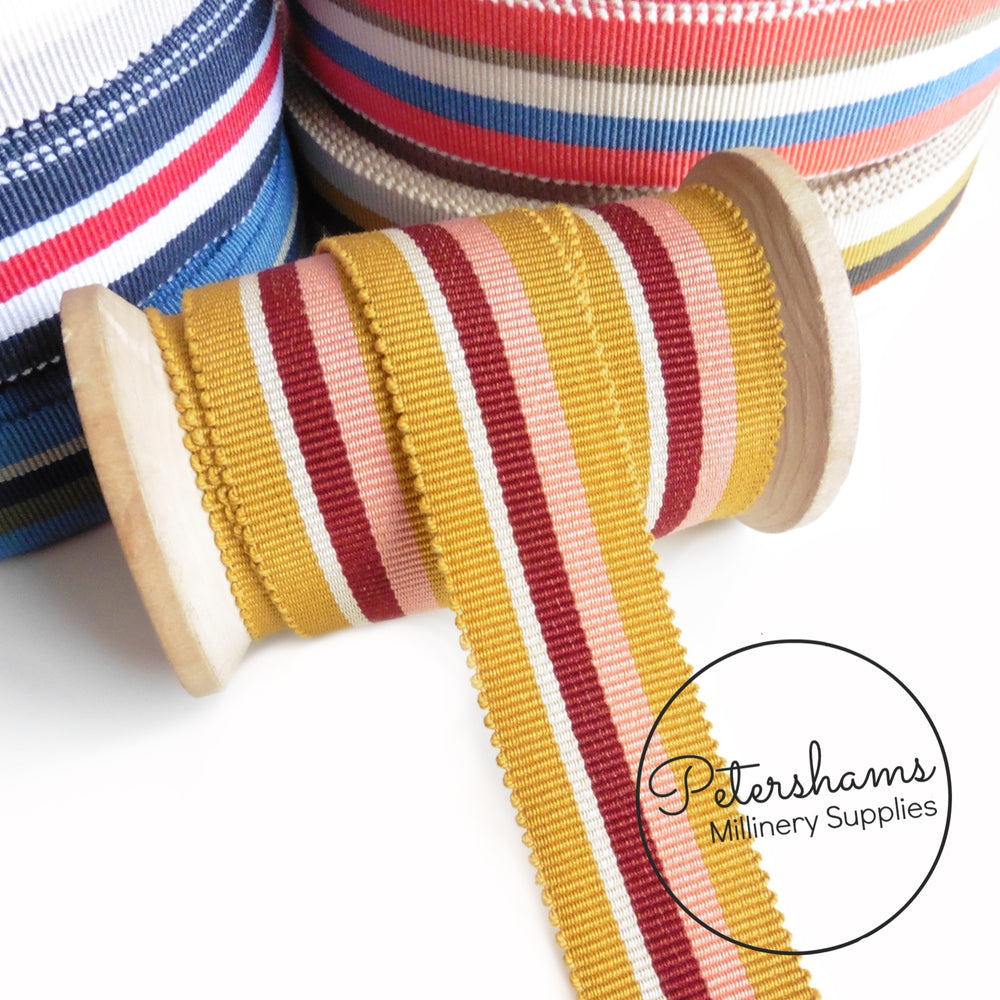25mm No.5 Traditional Stripe Millinery Petersham Hat Ribbon - 1m