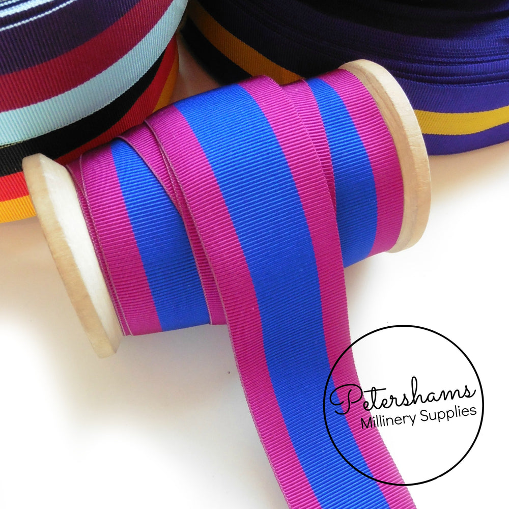 Vintage 32mm Wide Striped Grosgrain Ribbon - 1m