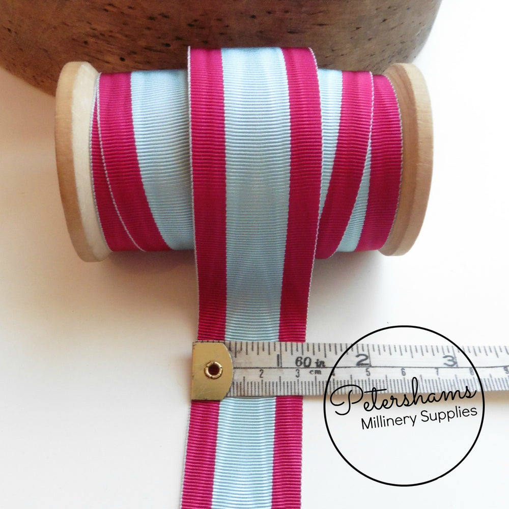 Vintage 32mm Wide Striped Moire Grosgrain Ribbon - 1m