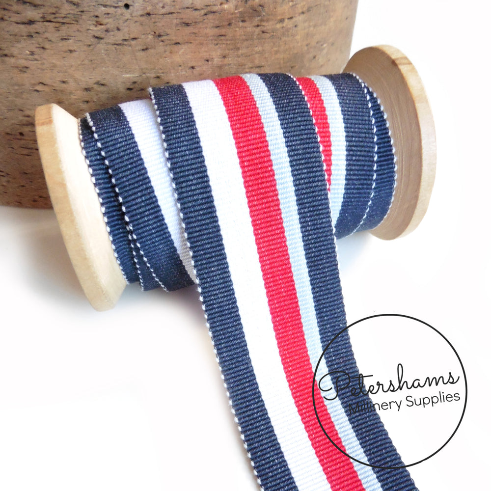 35mm Traditional Stripe Millinery Petersham Hat Ribbon - 1m