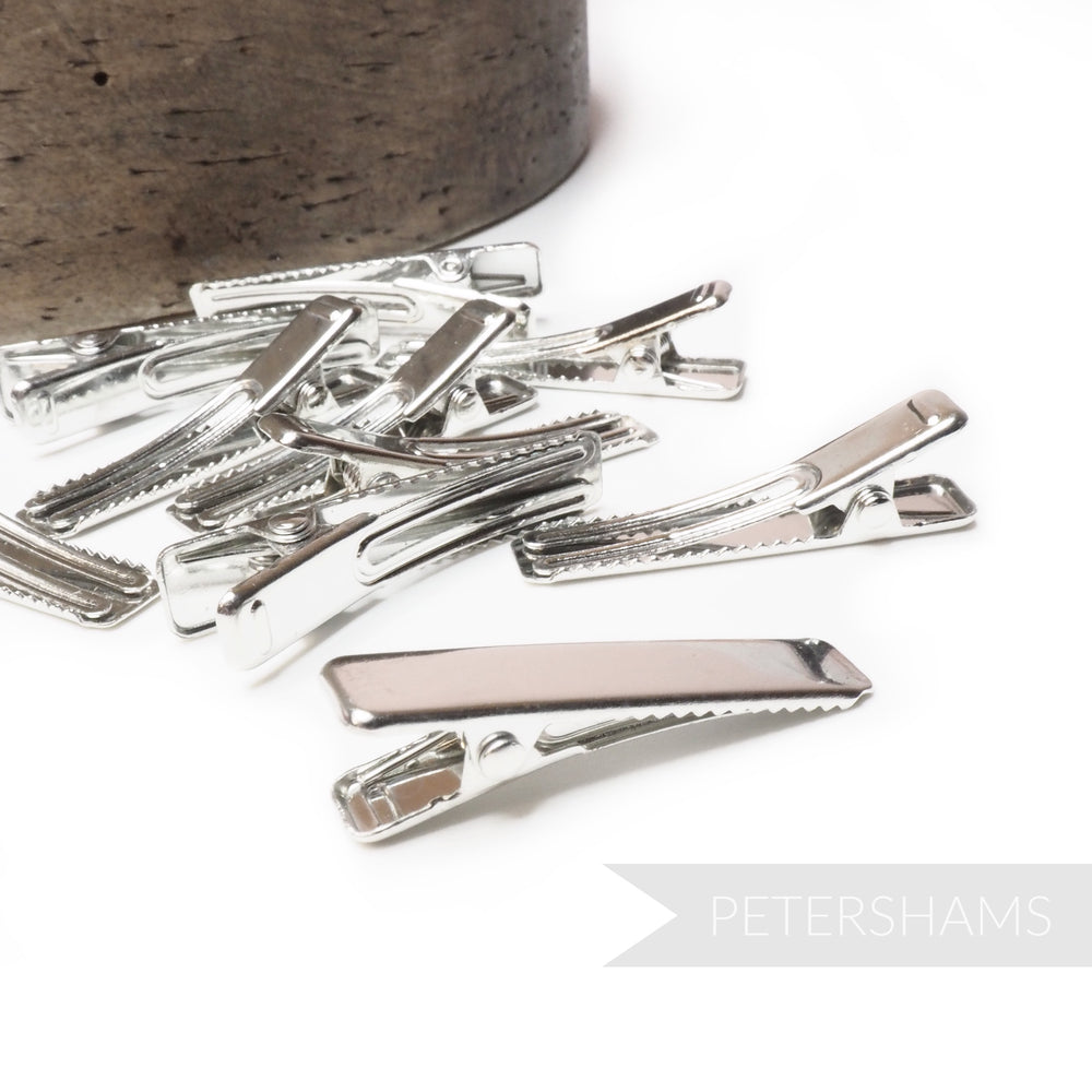 Flat Top Silver Metal Alligator Clips - Pack of 10