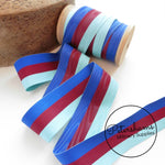 Vintage 38mm Wide Striped Moire Grosgrain Ribbon - 1m