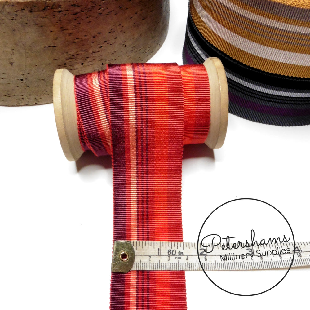 40mm Mixed Stripe Millinery Petersham Hat Ribbon - 1m