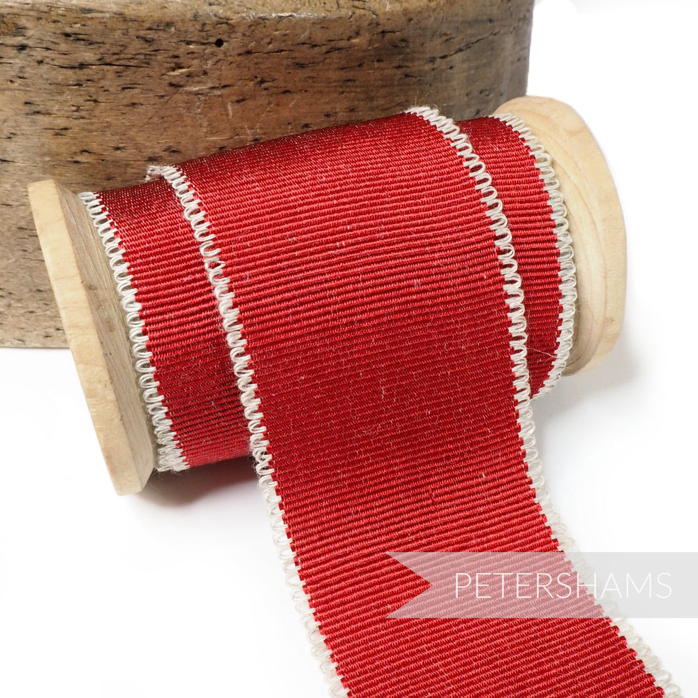 45mm Looped Linen Edge Millinery Petersham Hat Ribbon - 1m