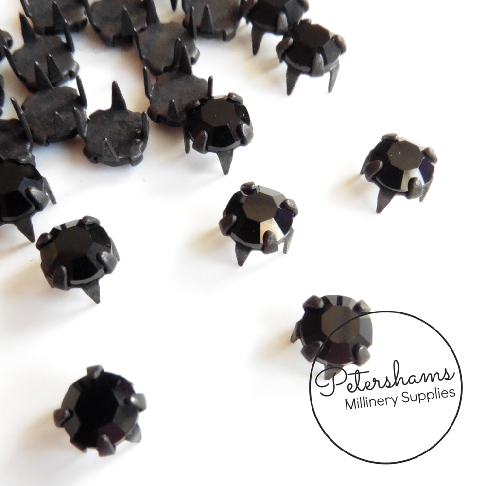 Vintage Jet Black 4mm Swarovski Crystals in Metal Claws - 25 Pieces