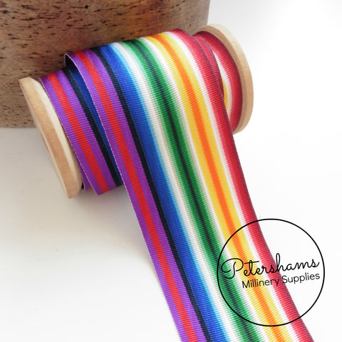 Vintage 50mm Wide Moire Striped Grosgrain Ribbon - Rainbow