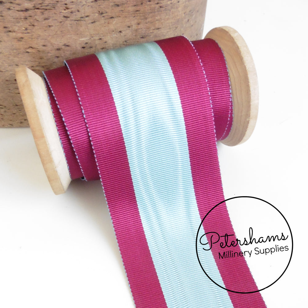 Vintage 50mm Wide No.16 Stripe Moire Petersham Ribbon - 1m