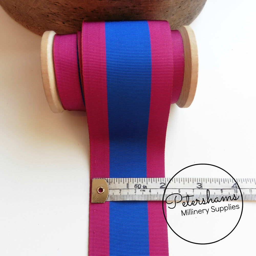 Vintage 53mm Wide Striped Grosgrain Ribbon - 1m