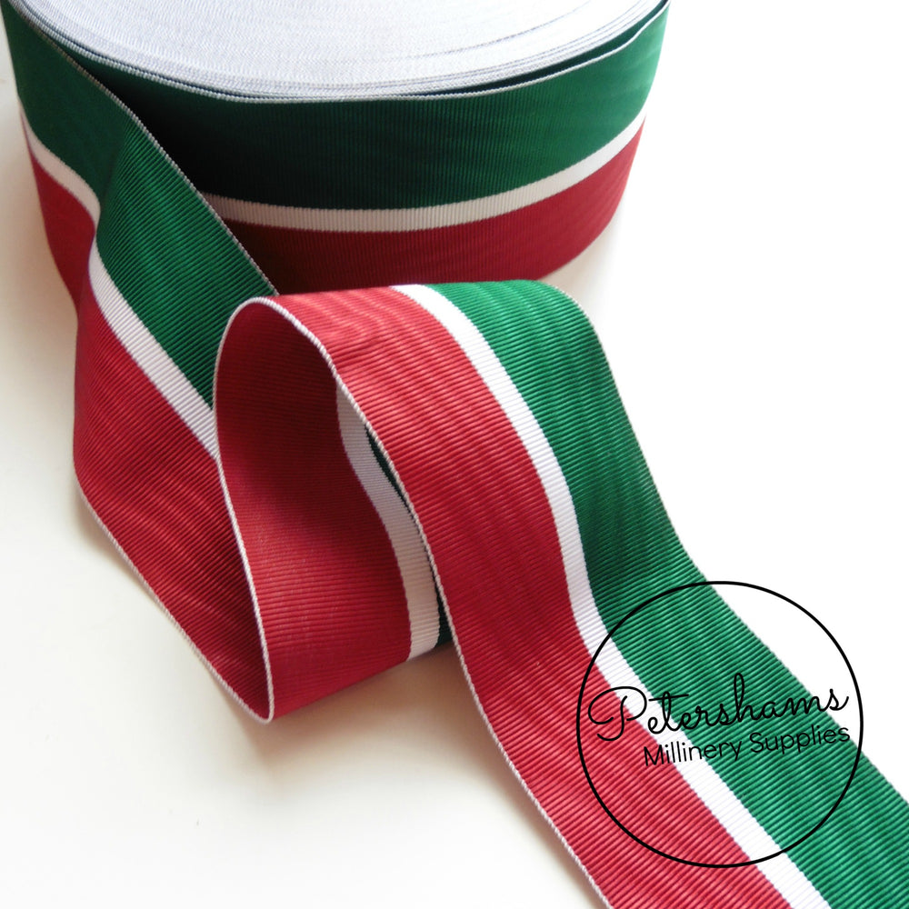 Vintage 55mm Wide Moire Striped Grosgrain Ribbon - 1m