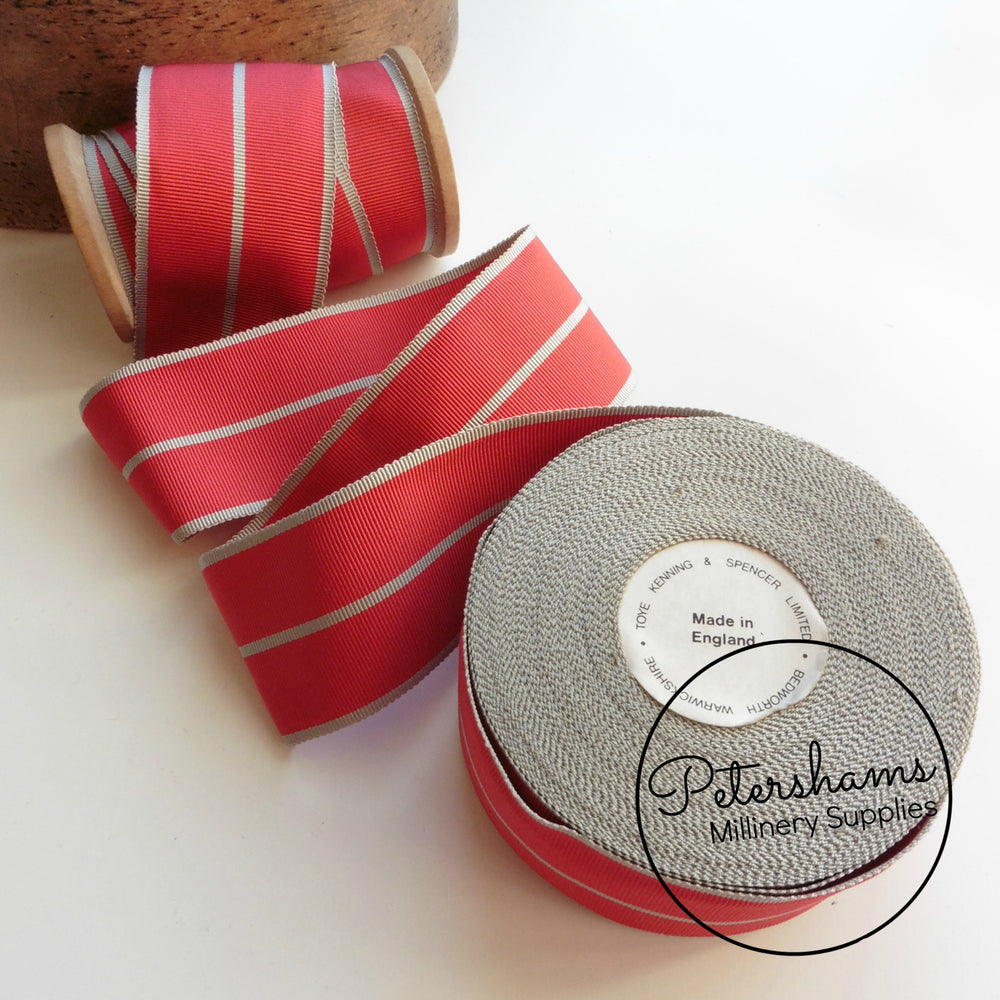 Vintage 60mm Wide Stripe Petersham Ribbon - 1m