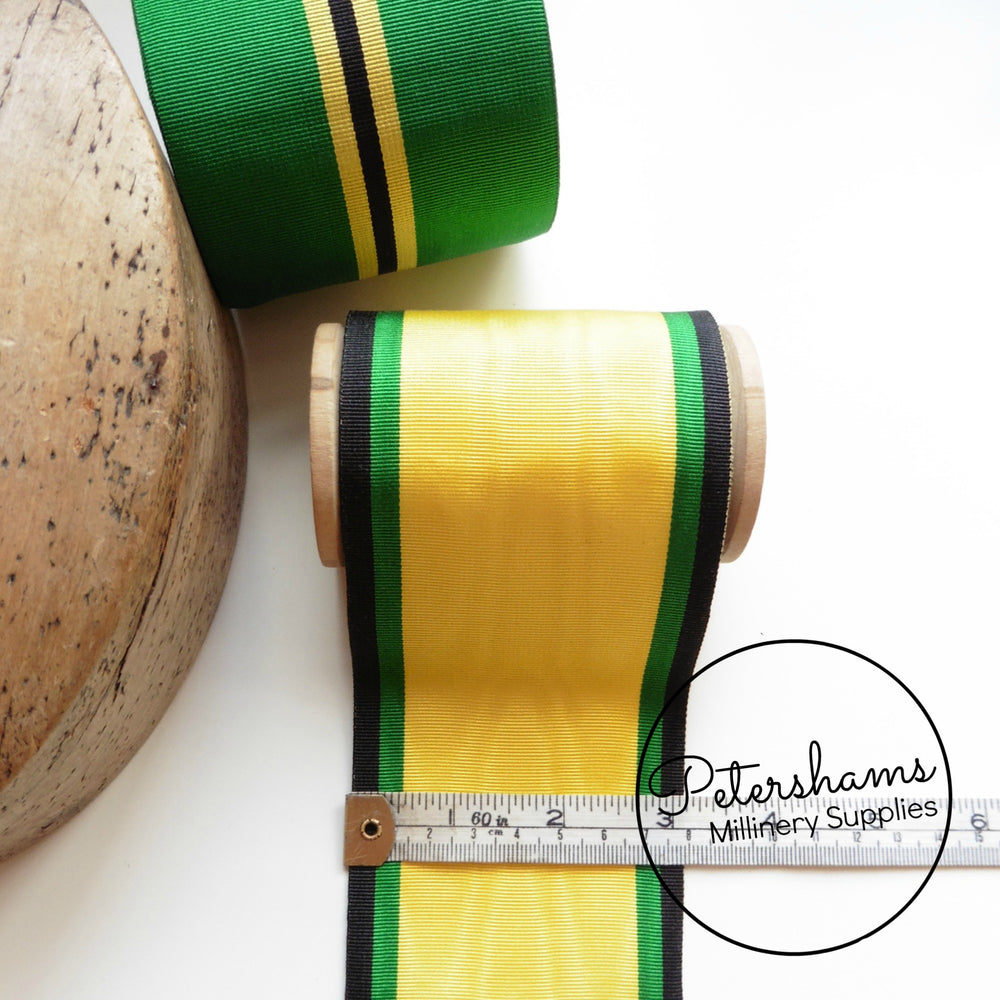 Vintage 78mm Wide Striped Grosgrain Ribbon - 1m