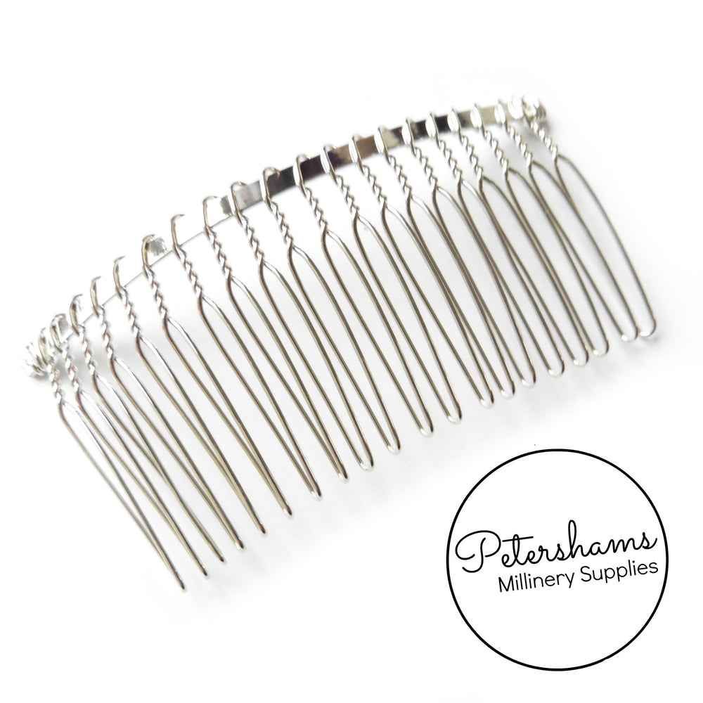"8.5cm (3.25"") Silver or Gold Plated Metal Hair Comb"