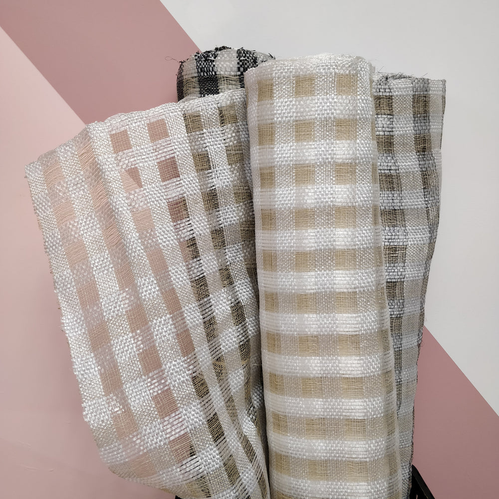 Checkerboard Abaca & Polythene Sinamay Fabric - 1/2m
