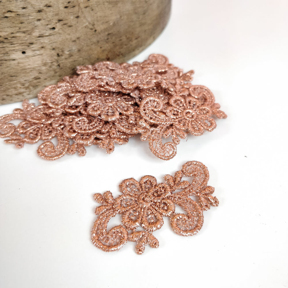 Vintage Swiss Metallic Rose Gold Floral Motifs - Pack of 12