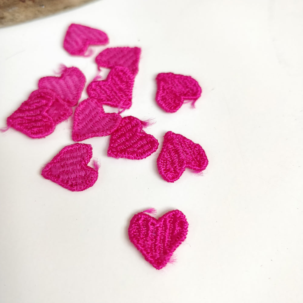 Tiny Embroidered Heart Motifs - Pack of 10