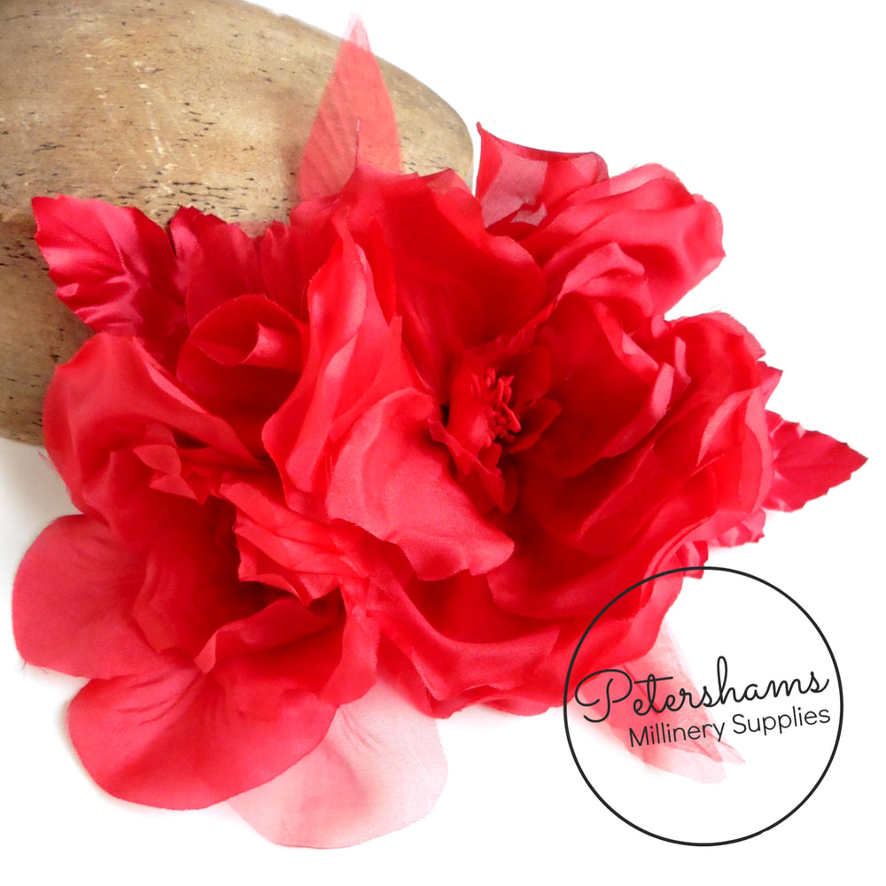 'Jojo' Silk Organza & Satin Double XL Millinery Flower Hat Mount