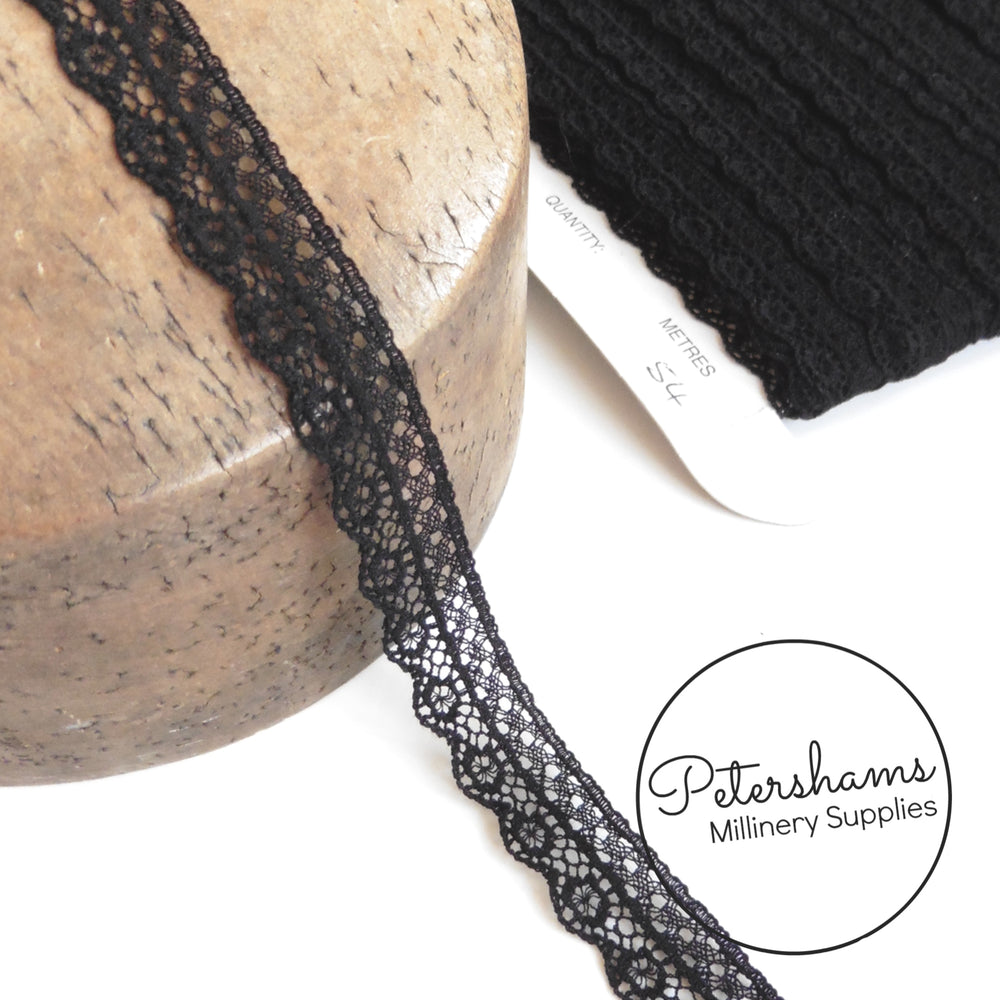 15mm Delicate Black Lace Trim - Full Card 54m