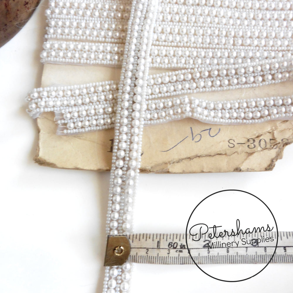 Vintage Double Row Ivory Pearl and Seed Bead Insertion Trim - 1m