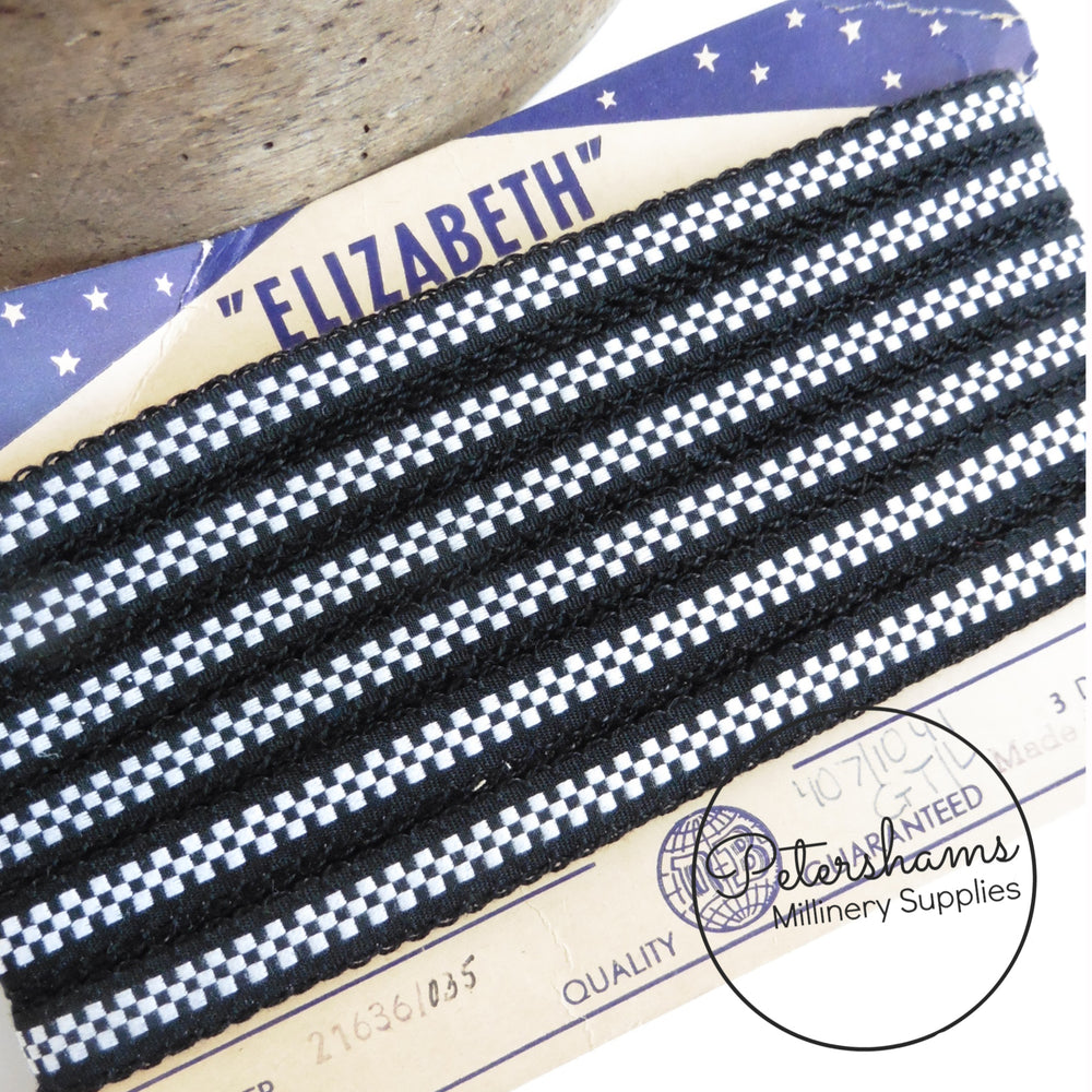 "Vintage 1950's ""Elizabeth"" Checkered Trim - Full Card 32m"