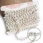 Vintage 1960s Ivory Acrylic Round Pearl Trim - 1m