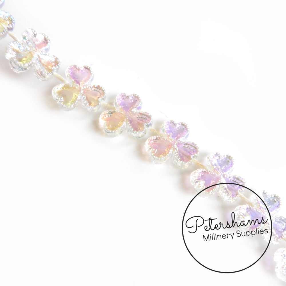 Clear Iridescent 3 Leaf Clover Bead Trim - 1m