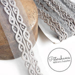 Silver Bead and Cotton Rouleau Rope Design Trim on Mesh - 1m