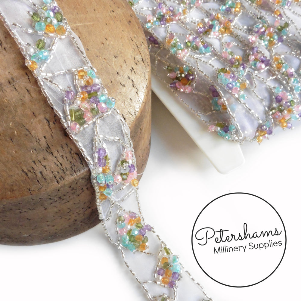 Multicolour Bead and Sequin Sheer Organza Trim - 1m