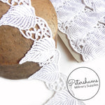 6cm Wide White Large Leaf Design Guipure Lace Trim - 1m