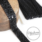27mm Heavily Beaded and Sequined Trim - 1m