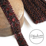 27mm Dark Rust Heavily Beaded and Sequined Trim - 1m