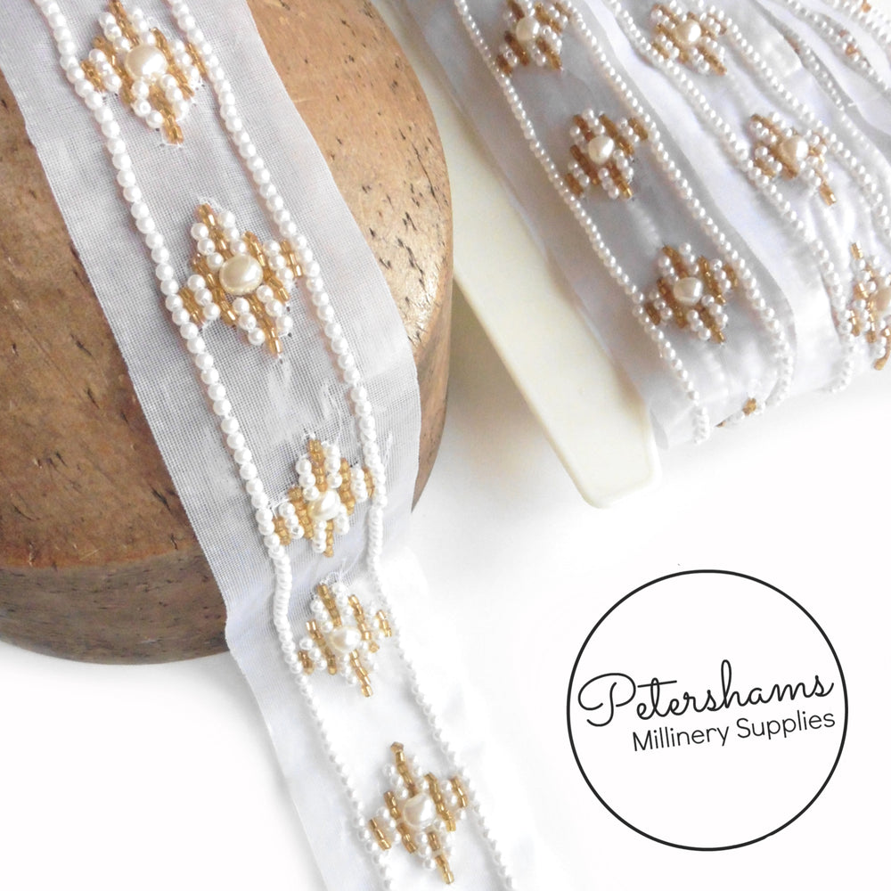 Sheer Pearl and Bead Adorned Diamond Pattern Trim - 1m