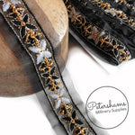 Embroidered Floral Pattern Organza Trim with Beads and Sequins  - 1m