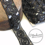 Iridescent Sequin & Metallic Thread Embroidered Circle Design Trim - 1m