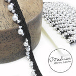 Pearl and Bead Adorned Silky Braid on Petersham Ribbon Trim - 1m