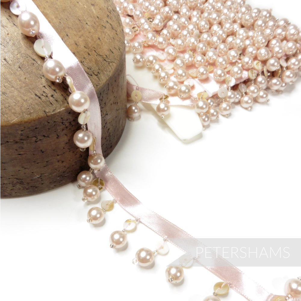 Imitation Pearl and Mother of Pearl Shell Fringe on Satin Ribbon - 1m