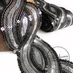 Sheer Black and Silver Sequin Metallic Mesh Trim - 1m