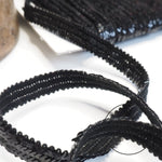 Teeny Triple Row Knitted Black Sequin Trim - 1m