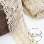 Vintage French Antique Ivory Triple Row Lace with Satin Rolled Top - 1m