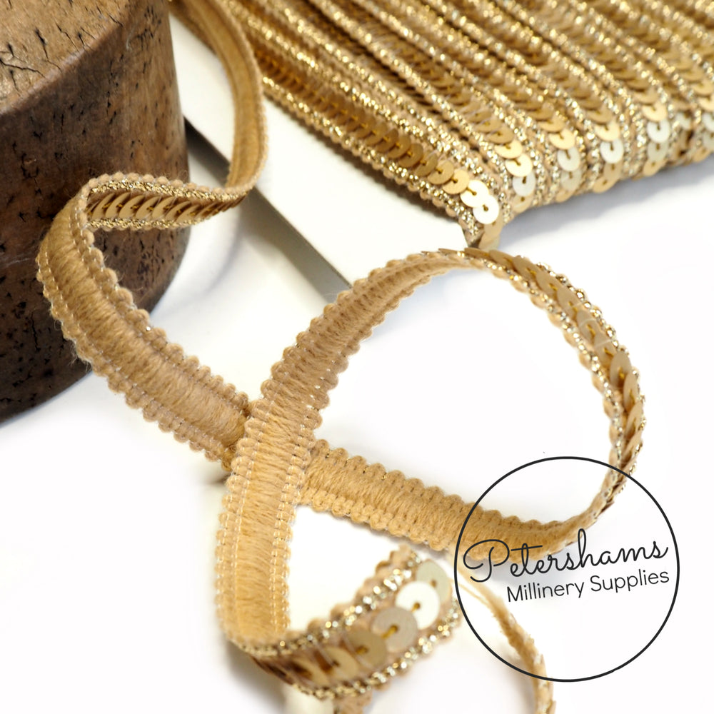 13mm Single Row Knitted Sequin Trim with Lurex - 1m