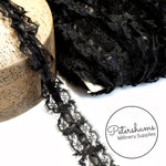 25mm Frilly Black Lace Trim with Satin Centre - 1m