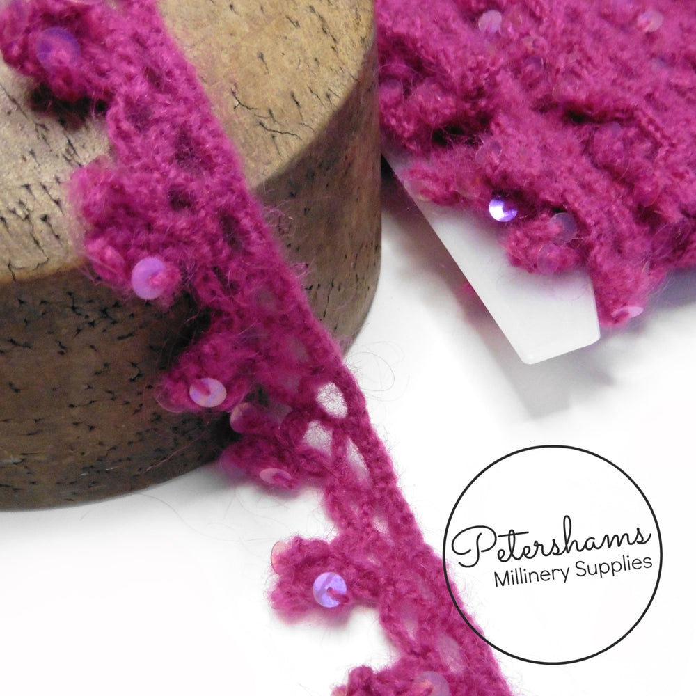 Wooly & Fuzzy Knitted Sequin Adorned Trim - 1m