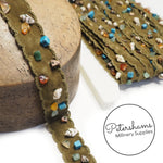 Seashell and Colourful Stone Embellished Faux Suede Trim -1m