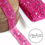 Metallic Folded Triangle Sequin Organza Trim with Beads - 1m