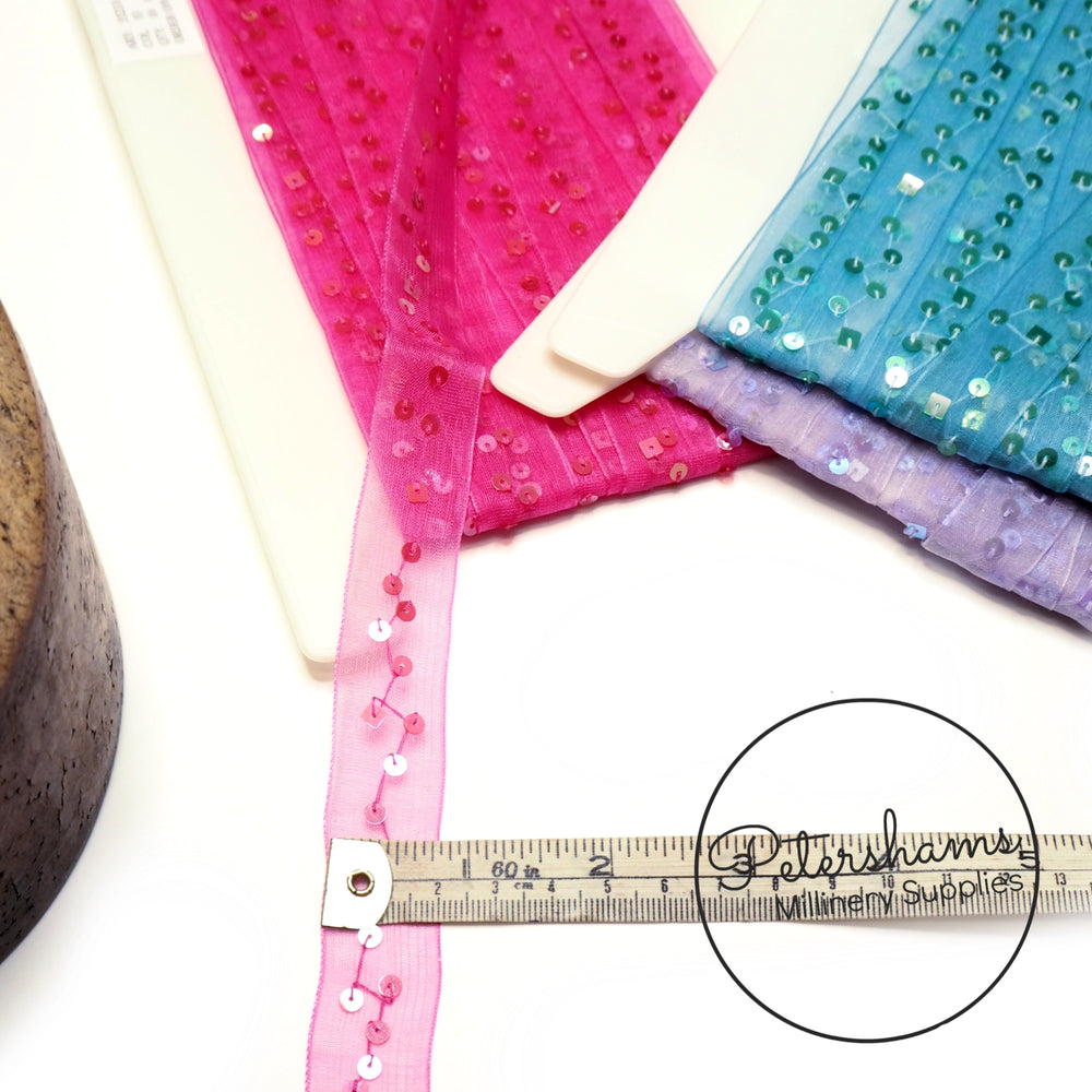 Square and Circle Sequins on Sheer Organza Trim - 1m