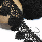 85mm Wide Black Scallop Design Guipure Lace Trim - 1m
