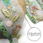 Heavily Embellished Whimsical Floral Organza Trim - 1m