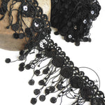 Black Sequin Dream-catcher Style Lace Fringe - 1m