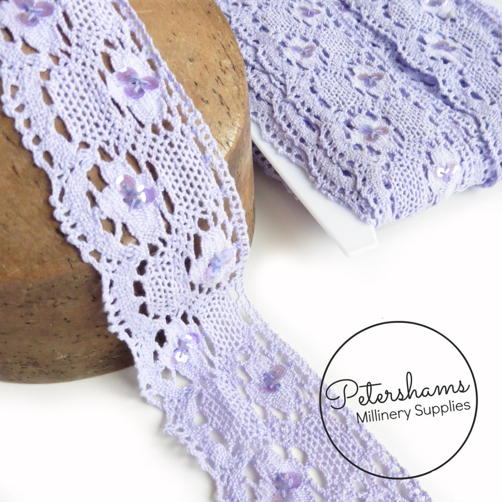 50mm Wide Sequin Embellished Crocheted Cotton Lace Trim - 1m