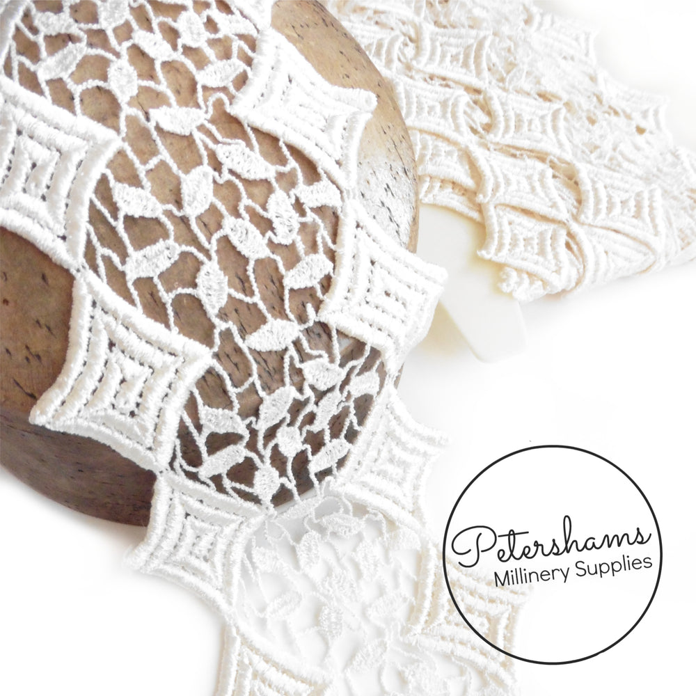 11cm Wide Diamond Design Ivory Lace Trim - 1m